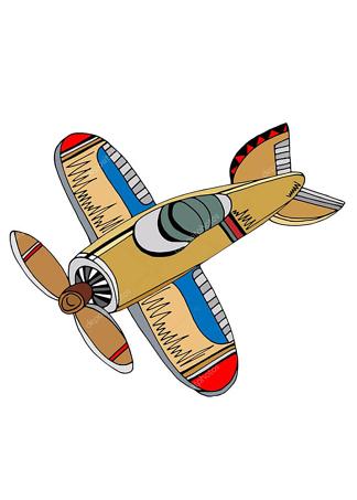 Постер Мультяшный самолет  - фото