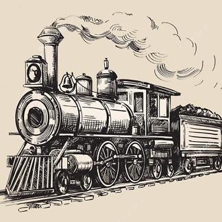 Постер Нарисованный поезд