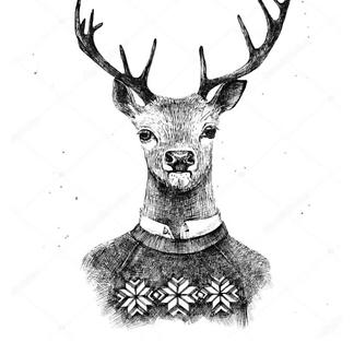 Постер Олень в свитере