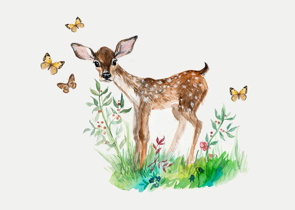 Постер Олененок с бабочками  - фото