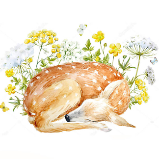Постер Олененок спит в цветах