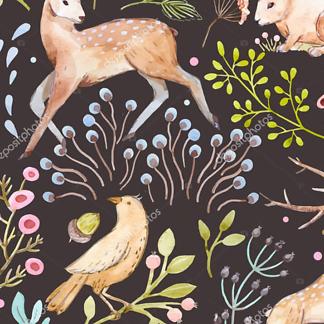 Постер Зимний пейзаж с оленями