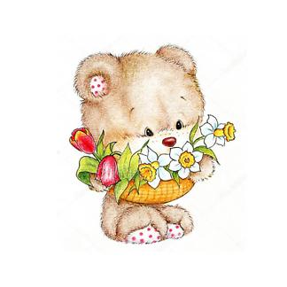 Плюшевый мишка с цветами
