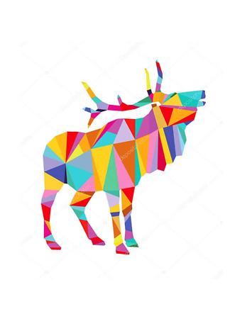 Постер Полигональный олень  - фото