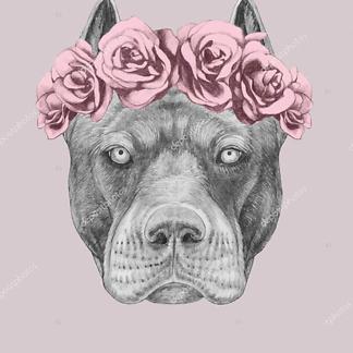 Портрет Питбуля с цветочным венком
