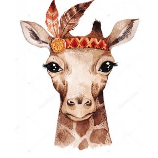 Портрет акварельного жирафа