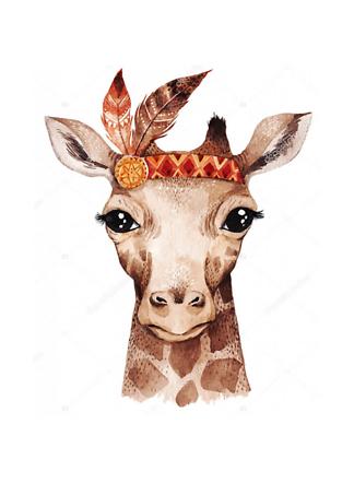 Портрет акварельного жирафа  - фото