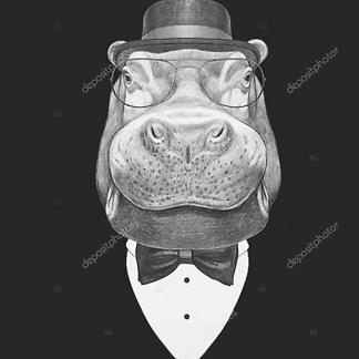Портрет бегемота в костюме