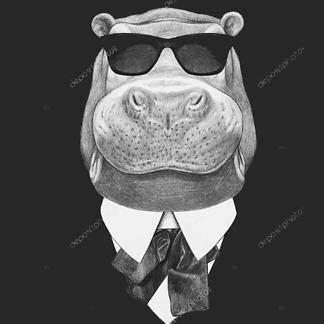 Портрет бегемота в костюме и очках