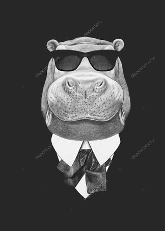 Портрет бегемота в костюме и очках  - фото