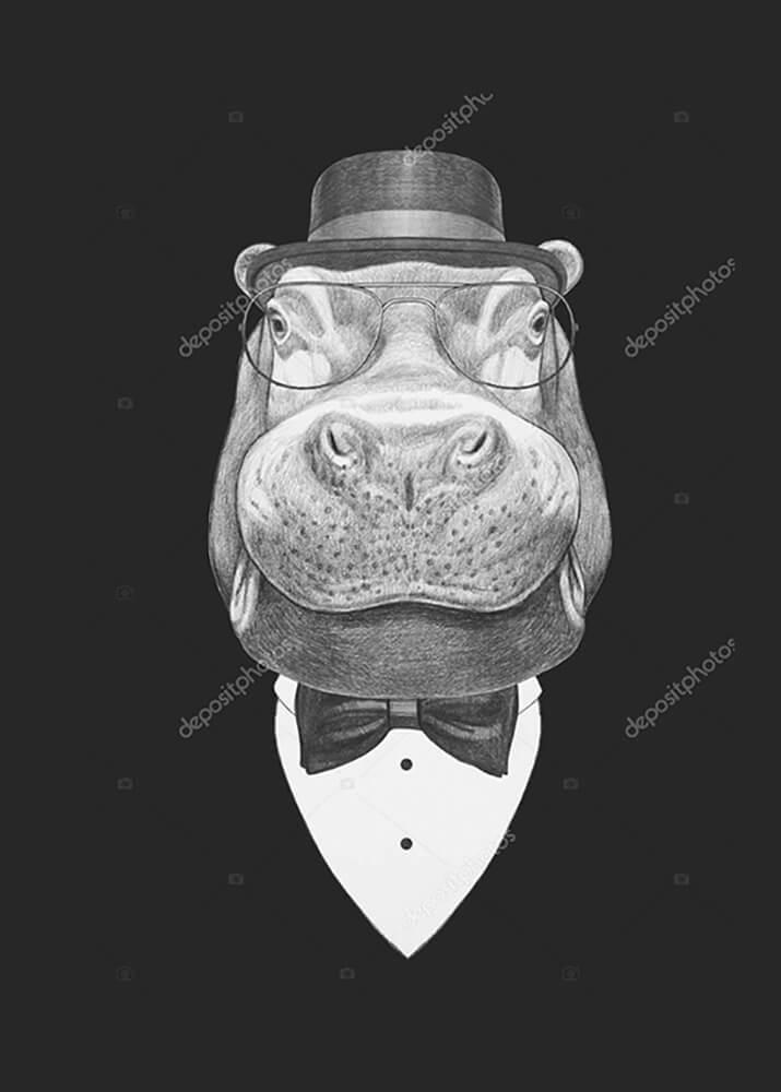 Портрет бегемота в костюме  - фото