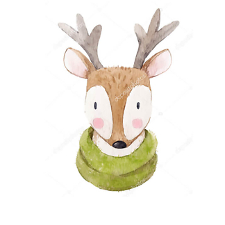 Портрет оленя с шарфом