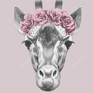 Портрет жирафа с цветочным венком