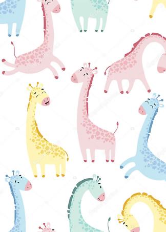 Постер Разночветные жирафы  - фото