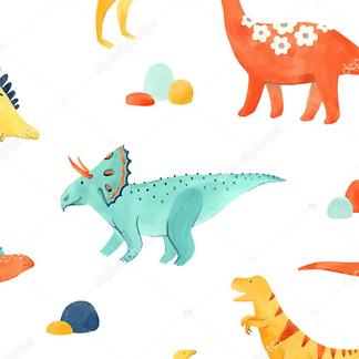 Постер Разноцветные динозавры