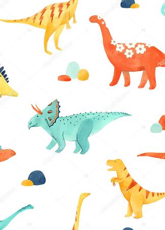 Постер Разноцветные динозавры  - фото