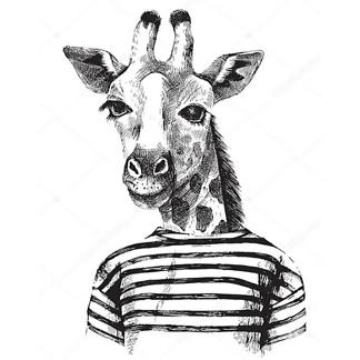 Постер Рисунок хипстера-жирафа