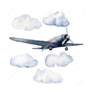 Постер Самолет в облаках