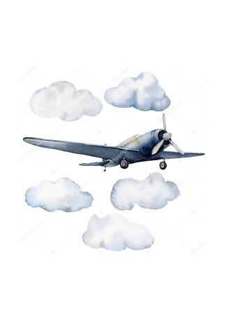 Постер Самолет в облаках  - фото