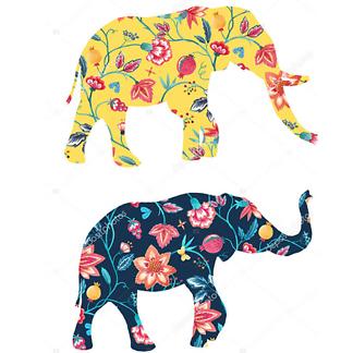 Постер Силуэты двух слонов