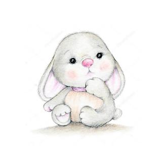 Постер Симпатичный серый заяц