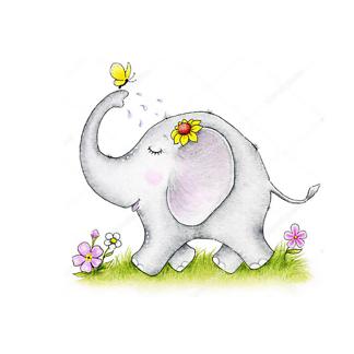 Постер Симпатичный слон и бабочка