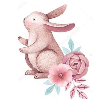 Постер Заяц нюхает цветок