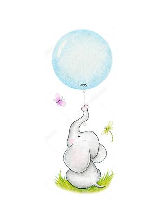 Постер Слон держащий шарик  - фото