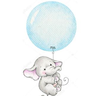 Слон летит на голубом шаре