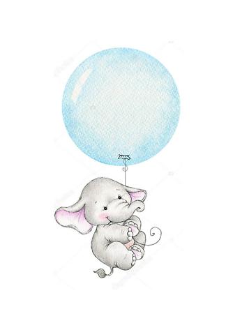 Постер Слон летит на голубом шаре  - фото