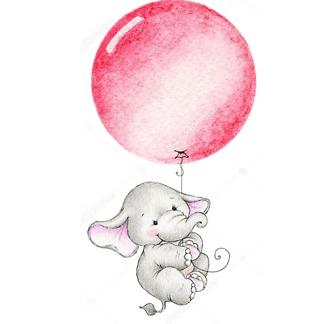 Постер Слон летит на красном шаре