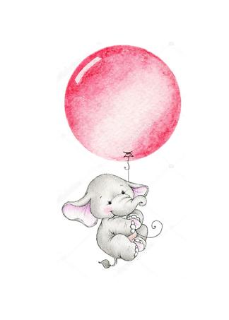 Постер Слон летит на красном шаре  - фото