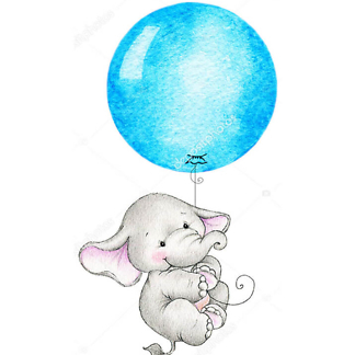 Слон летит на синем шаре