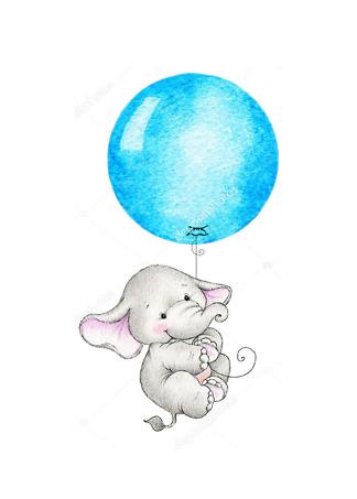 Постер Слон летит на синем шаре  - фото