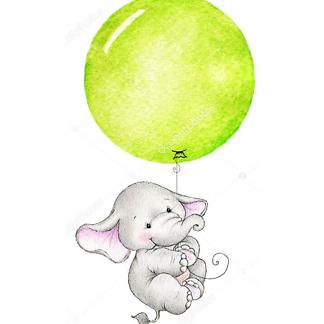 Постер Слон летит на зеленом шаре