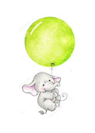 Постер Слон летит на зеленом шаре  - фото