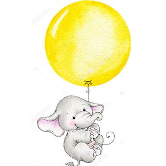 Постер Слон летит на жёлтом шаре