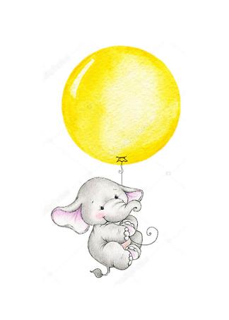 Постер Слон летит на жёлтом шаре  - фото