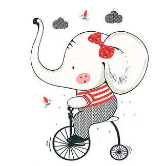 Постер Слон на велосипеде