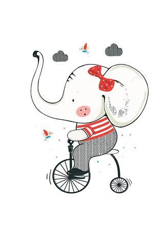 Постер Слон на велосипеде  - фото