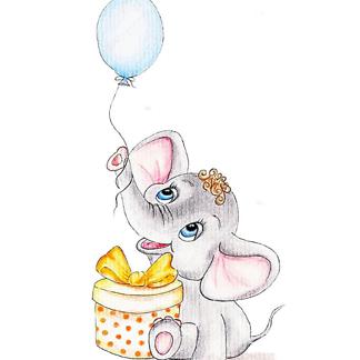 Постер Слон с воздушным шаром и подарком