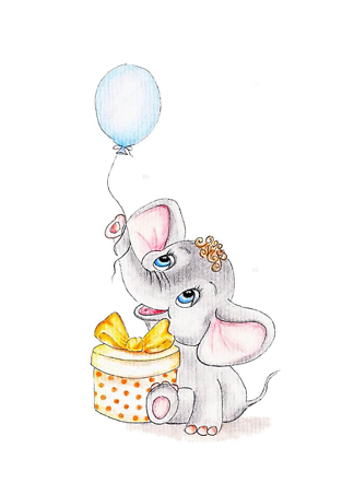 Постер Слон с воздушным шаром и подарком  - фото