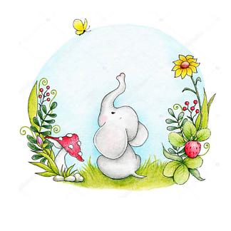Постер Слон смотрит на бабочку
