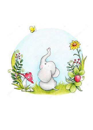 Постер Слон смотрит на бабочку  - фото