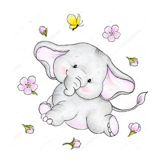 Слон с воздушным шаром и подарком