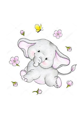 Постер Слон в цветах  - фото