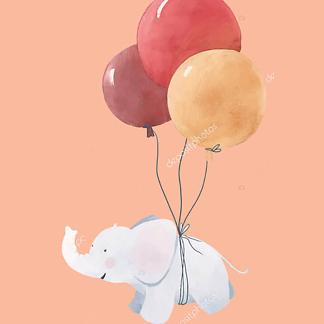 Постер Слоненок летит на шариках