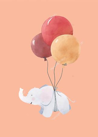 Постер Слоненок летит на шариках  - фото