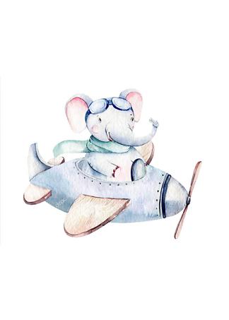 Постер Слоненок на самолете-2  - фото