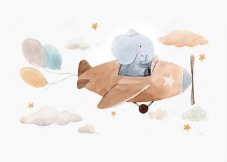 Постер Слоненок на самолете  - фото